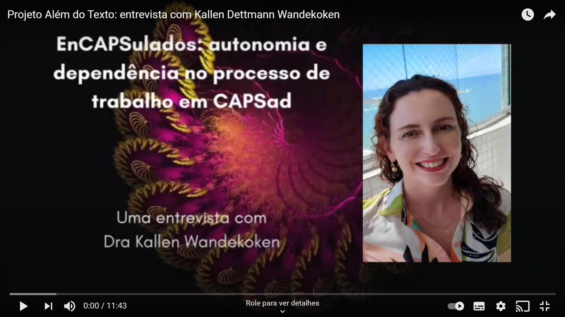 """Imagem que conte´m o título do artigo """"'EnCAPSulados': autonomia e dependência no processo de trabalho em CAPSad"""", a foto de Kallen Dettmann Wandekoken e o plano de fundo é formato por um fractal"""