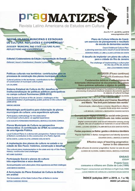 v.9, n. 17 (2019) com dossiê Planos municipais...