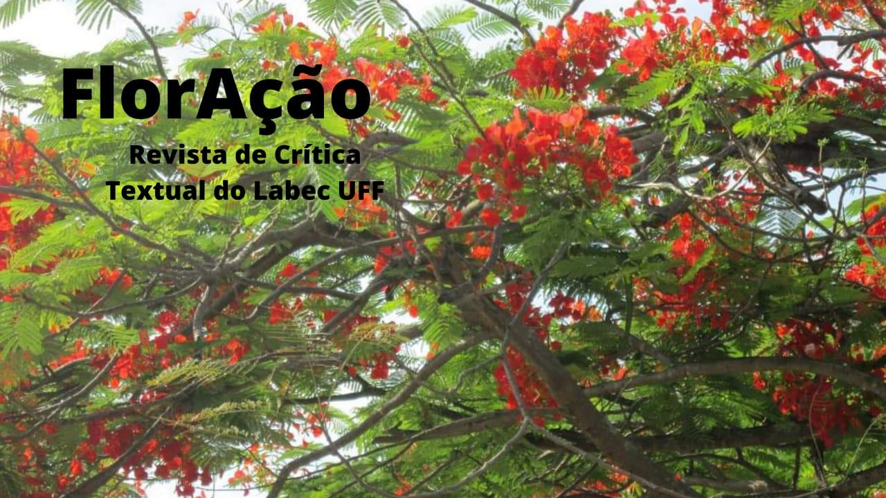 Título da Revista. Ao fundo, flamboyant com floração vermelha